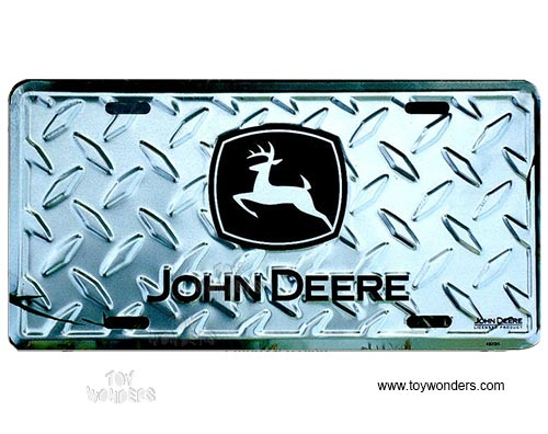 License Plate John Deere Logo Farm Tractor Silver Diamond Sign Sljd