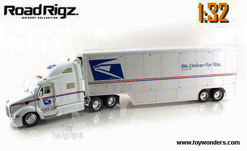 Toy Tractor Trailer Trucks : Peterbilt tractor trailer mail truck by jada toys